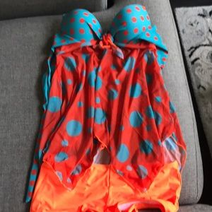 Other - Push up halter swim suit with boy shirt bottoms